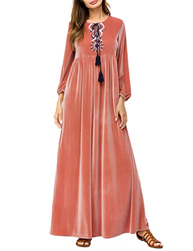 TAAMBAB Moda Mujer Vestido Maxi Bordado Túnica -