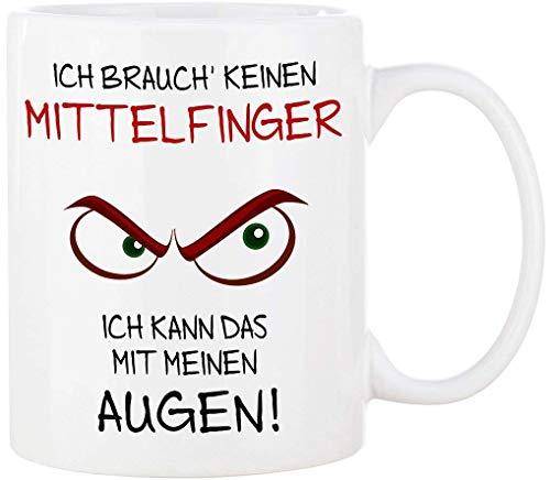 Cadouri Tasse mit Spruch ICH BRAUCH' KEINEN MITTELFINGER ICH KANN DAS MIT MEINEN AUGEN! Kaffeetasse Bürotasse Sprüchetasse - 300 ml