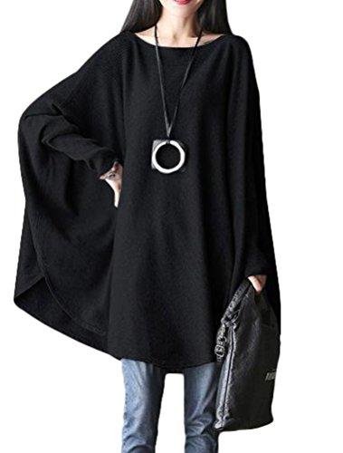 Mallimoda Femme Haut Grande Taille Col Rond Manche Chauvre-Souris Tunique Asymétrique Pull Noir