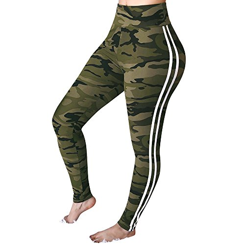 SuperSU Womens Mid Waist Camouflage Gestreifte Hose Damen Casual Drawstring Hosen Frauen High Elastic Yoga Hosen Grau und Weiß Streifen Printing Slimming Sportswear Persönlichkeit Workout leggings