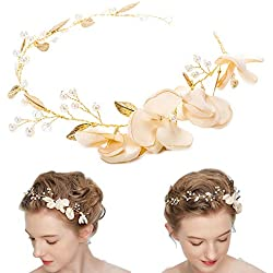 Femmes Perle Bandeau de Mariage, Mode Coiffure Barrettes de Cheveux Art Hair pour la Mariée/Filles Serre-têtes Accessoires de Décor Portent des Clips Bijoux pour Demoiselle D'honneur