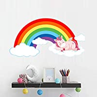 BUCKOO Rainbow Unicorn Wall Decal,Lying Down Colorful Clouds Horse Unicorn Wall Sticker,Nursery 3D Art Decal Sticker,Children