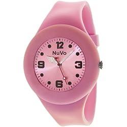 Nuvo - NU13H21 - Unisey Armbanduhr vom Armband abtrennbar - Pinkes Zifferblatt - Pinkes austauschbares Armband aus Silikon - Modisch - Elegant - Stylish