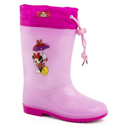 GladRags Girls Kids Minnie Mouse Wellies Wellington Boots Tie Top Draw String Rain Shoe Official Ankle Size 6 8 10 11 13 1