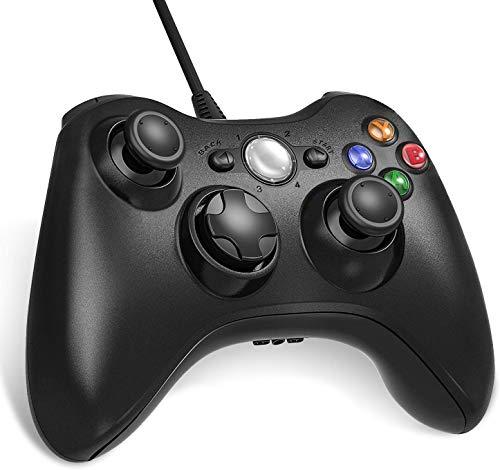 Diswoe Manette Filaire Xbox 360, USB Wired Gamepad Game Joystick, Manette du Contrôleur de Jeu Filaire avec Double Vibration, Idéal pour Vos Sessions de Jeux sur Windows7/ 8/10/ PC/Xbox 360.