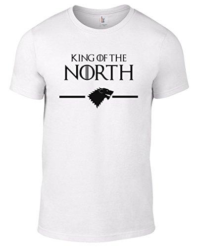 """Camiseta unisex de Juego de Tronos, con inscripción en inglés 2King in the North"""" blanco blanco 30"""