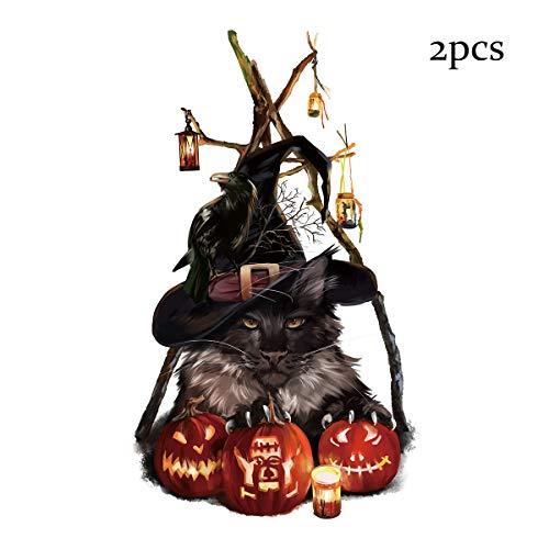HKPLDE Halloween Black Cat Wandaufkleber, 2 STÜCKE Scary Wall Decal Fenster Dekor für Hauptdekoration Halloween Theme Party-B (Scary Black Cat Kostüm)