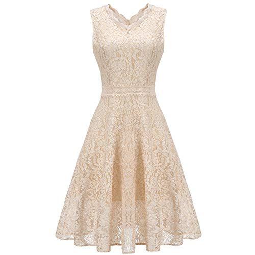 Formelle Kleidung Zu Cocktail-kleidern (XUEGM-hat Damen Bankett ärmellos Hallo-Lo Lace A-Line Kleid formelle Kleidung Cocktail Party Kleid V-Ausschnitt Anzug für Hochzeit, Abend, Brautjungfer Kleid,XS)
