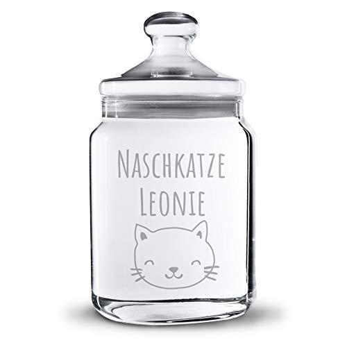 Personello® Gravierte Keksdose Naschkatze personalisierbar mit Namen, Vorratsdose aus Glas (Motive und Größen wählbar), originelle Geschenkidee für Tochter, Freundin, Schwester (25cm)