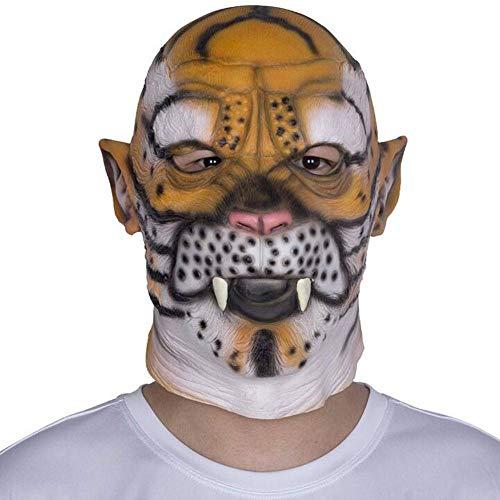 QWE Halloween Tierkopfbedeckung Latex Maske Horror Leopard Tiger Party Prom Festival Parodie Performance Requisiten