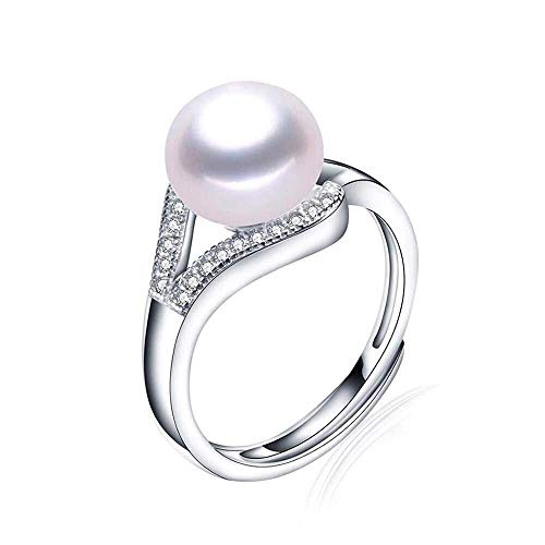 JIUJIUYITECH Perlenring Vollkristall Damenring mit verstellbarem Rundschnitt (Color : A, Größe : M)