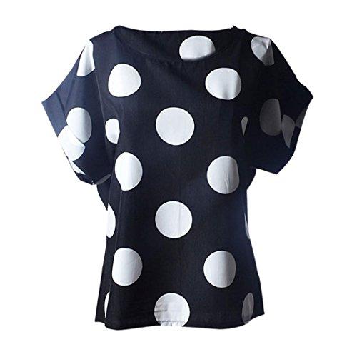 JERFER Frauen Blusen Kurzarm-ShirtsLässiger Blumendruck Chiffon Tropical (Seide Gestreiften Shirt Kleid)