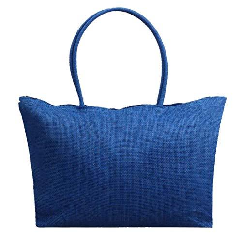 Felicove Damen Schultertasche, Einfache Candy Farbe Taschen Tägliche Nutzung Einkaufstasche Große Stroh Strandtaschen Casual Schultertasche