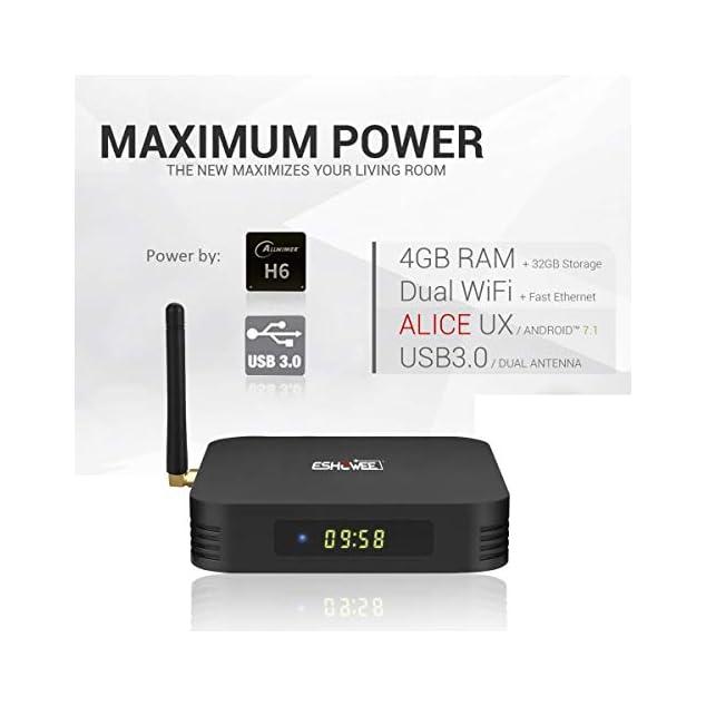【4GB DDR3 32GB ROM】ESHOWEE Android 9.0 Tv Box TX6 Allwinner H6 Quad Core 64 Bit CPU 4K/6K HDMI Ausgang 2.4G WiFi USB 3.0 H.265