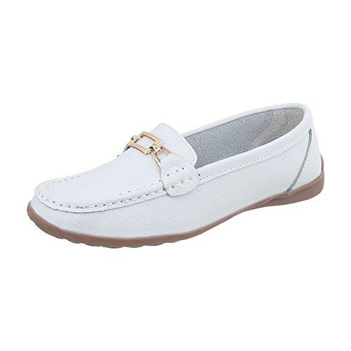Ital-Design Mokassins Leder Damen-Schuhe Mokassins Moderne Halbschuhe Weiß, Gr 39, 0511-