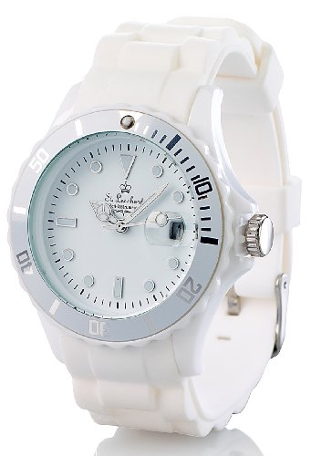 Band Herren-uhren-elastisches (St. Leonhard Silikon Uhr: Sportliche Silikon-Quarz-Armbanduhr, Lupen-Mineralglas, strahlend-weiß (Armbanduhr mit Quarzwerk))