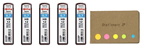 Rotring Tikky Mechanical Pencil Leads 0.7mm HB, 5 Pack/total 60 Leads, Sticky Notes Value Set