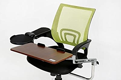 ER Laptop Tray with Chair Mount Armrest | Mouse and Keyboard PC Chair Mount Wrist Rest for Ergonomic Purpose (Walnut) - low-cost UK chair shop.
