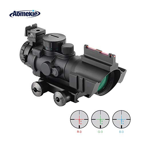 AOMEKIE Zielfernrohr 4x32mm mit Fiberoptic und 20mm/22mm Schiene Airsoft Red Dot Visier Sight Leuchtpunktvisier Rotpunktvisier für Jagd Softair und Armbrust