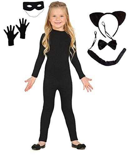 Imagen de disfraz inspirado en cat noir ladybug . incluye maillot, antifaz, guantes, orejas, rabo y pajarita. varias tallas. talla 4 6