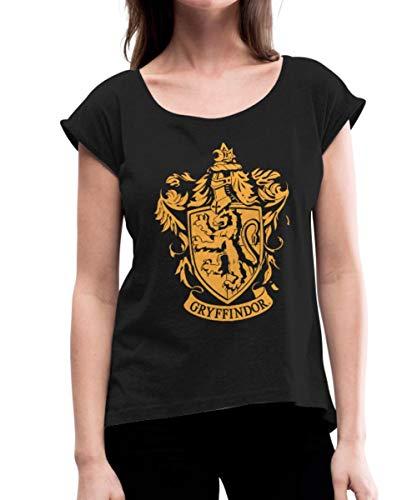 Spreadshirt Harry Potter Gryffindor Wappen Frauen T-Shirt mit gerollten Ärmeln, S (36), Schwarz