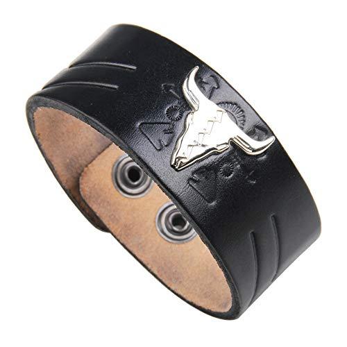 Europa und die Vereinigten Staaten Fan Street Schuss Lederlegierung Kuhkopf übertrieben Punk Temperament breites Lederarmband schwarz -