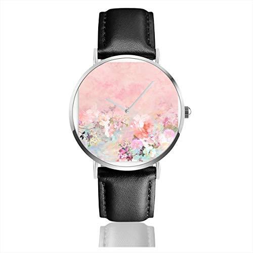 Armbanduhr, Pastellfarben, Blush, Aquarell, Ombre, Blumen, Aquarell, Quarzuhr für Herren und Damen, mit schwarzem Lederband -
