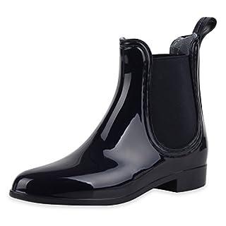 SCARPE VITA Damen Lack Stiefeletten Gummistiefel Chelsea Boots Schuhe 160509 Dunkelblau 37
