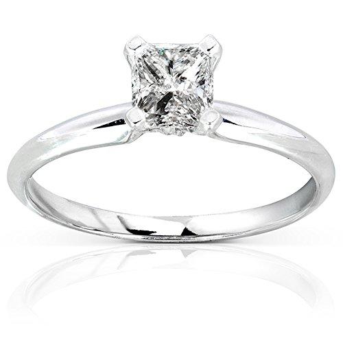 Kobelli  -  14 Kt  Weißgold Prinzessschliff   Feines Weiß/Top Wesselton (G) - Weiß/Wesselton (H) Weißer Diamant - Tiffany Engagement Diamant-ring