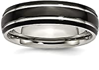 IceCarats Titanium Grooved 6mm Black Ip Plated Polished Wedding Ring Band