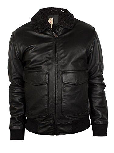 Levis Herren Leather Flight Jacket, Schwarz Schwarz
