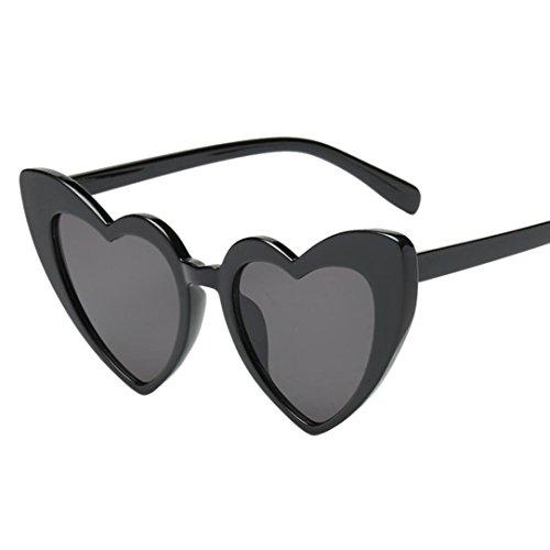 Dame Herz Sonnenbrille Rosennie Sommerbrille UV Schutz Unisex Herzbrille Frauen Fashion Retro Metall Heart-Shaped Shades Sonnenbrille Integrierte UV-Brille Kunststoff Rahmen Outdoor Brillen (E)