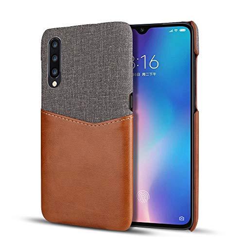 Funda para Xiaomi Mi 9 Carcasa Suave Case de PU Cuero [Credit Card Holder][Ultra Delgada] Parachoque Protective Caso Cover Caja del Teléfono (Tela + marrón, Xiaomi Mi 9)