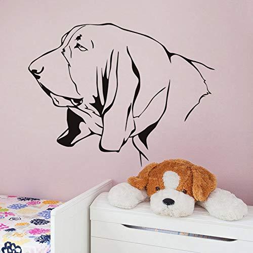 jiuyaomai Basset Hound Kunst Wandtattoo Big Ear Hundekopf Silhouette Muster Wandaufkleber Für Jungen Schlafzimmer Hochwertige PVC Wandtattoo 57x75 cm
