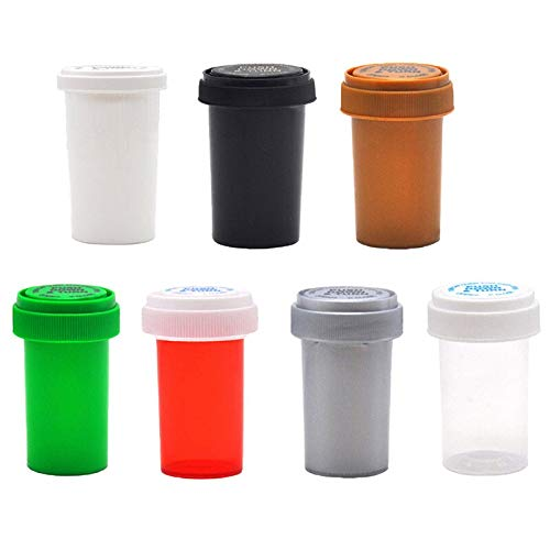 Q31Pcs 75ML/110ML Plastic Push Down Turn Vial Container Weed Storage Stash Jar Pill Bottle Case Herb Box -
