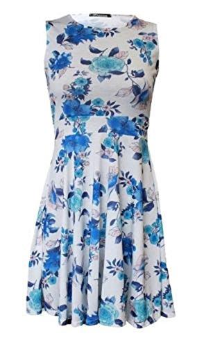 Generic - Robe - Patineuse - Sans Manche - Femme bleu/fleur