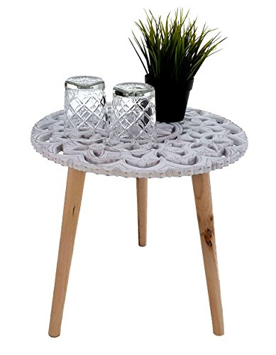 Design Beistelltisch Shabby Chic - 40x40 cm - Holz Deko Tisch klein - Vintage Couchtisch weiß