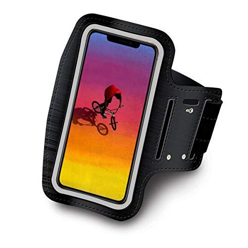 Fascia braccio compatibile con Samsung Galaxy A8 fascia da braccio sportiva running neoprene regolabile Velcro antisudore antiscivolo tasca per cuffie Chiavi (Nero)