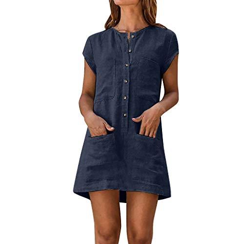 MAYOGO Damen Kleider Kleid Damen Sommer Baumwolle und Leinen Tshirt Kleider Kaftan Kleid Unifarben Kurzarm Tasche Sommerkleid Casual Jersey Blusen Kleider -