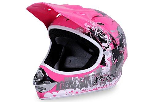 Motorradhelm X-treme Kinder Cross Helme Sturzhelm Schutzhelm Helm für Motorrad Kinderquad und Crossbike Modell in pink (XX-Large)