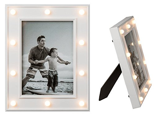 ootb Beleuchteter Kunststoff-Bilderrahmen, Glamour Light mit 10 LED, Plastik, Weiß, 20 x 3.5 x 25 cm