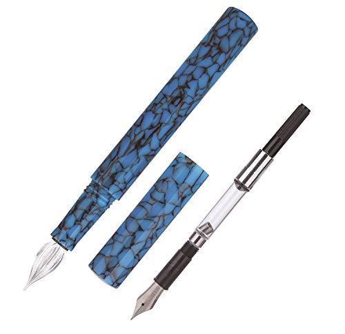Moonman Füllfederhalter, extra feine Fude Feder und Glas Dip Pen mit Tintenkonverter, Dual-Use Pocket Travel Ink Pen Set für Unterschriften, Kunstzeichnungen - Blau Marmor Acryl Mini-dip-set