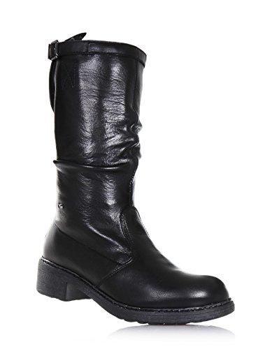 5065078f242b72 NERO GIARDINI - Botte noire en cuir, made in Italy, fermeture éclair  latérale,