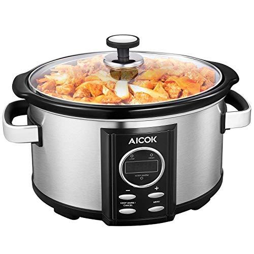 Olla de Cocción Lenta, Aicok 6.5l Slow Cooker Temporizador Digital y 3 Configuraciones de Temperatura, Olla Coccion Lenta Tapa de Vdrio y Olla de Cerámica, Plata, 315W