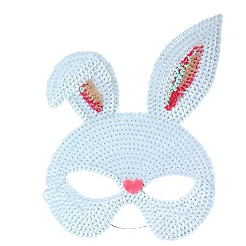 Amosfun Kaninchen Halbe Gesichtsmaske Pailletten Hasen Ohr Maske für Ostern Karneval Party Kaninchen Kostüm (Weiß)