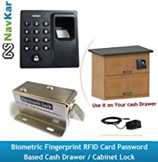 NAVKAR SYSTEMS Biometric Fingerprint RFID Card Password-Based Drawer/Cabinet Lock and Adapter (Silver)