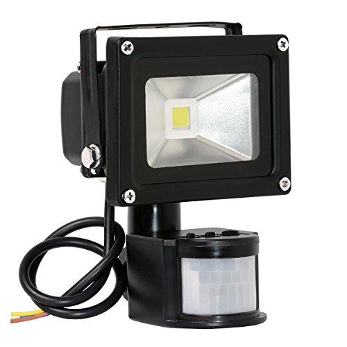 TEQStone Projecteur LED 10W, sensibles au mouvement, Lampe de travail à l'extérieur hyper-brillante, 1000 Lumen, L'étanchéité IP65, La lumière blanche, Lampe PIR, lampe de sécurité