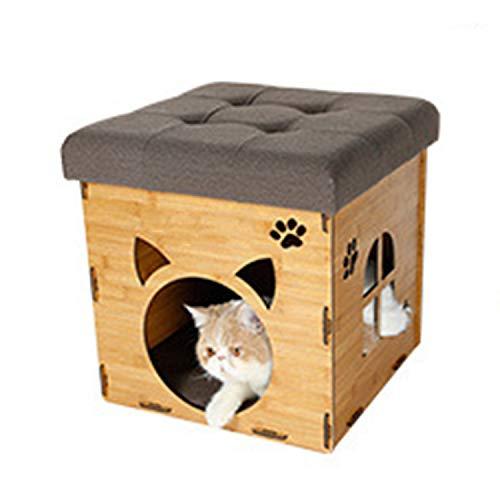 (LOVEPET Kann Aufbewahrt Werden Multifunktion Kreatives Schemelnest Hauskatzenstreu des Hölzernen Kornes Katzenhaus Sitzender Hocker)