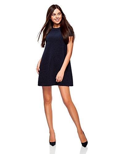 oodji Ultra Damen A-Linie-Kleid Gerippt, Blau, DE 38 / EU 40 / M (Freund Kleid)