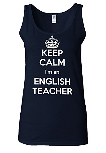 Keep Calm I'm An English Teacher White Women Vest Tank Top Bleu Foncé